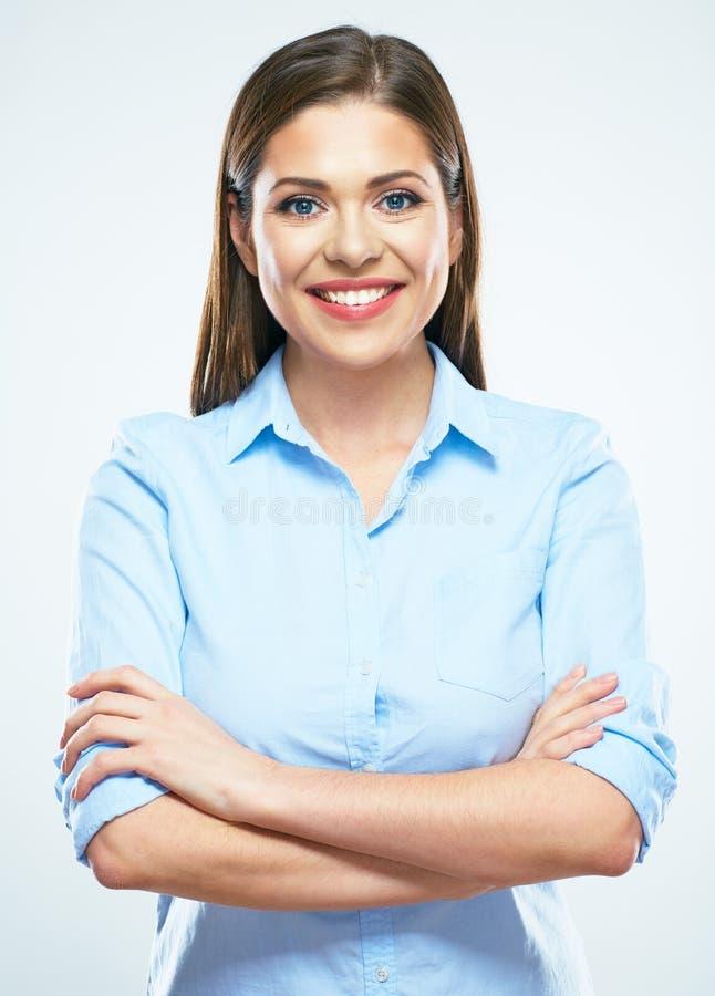 женщина портрета дела ся Молодая женская модель с длинным h стоковое фото