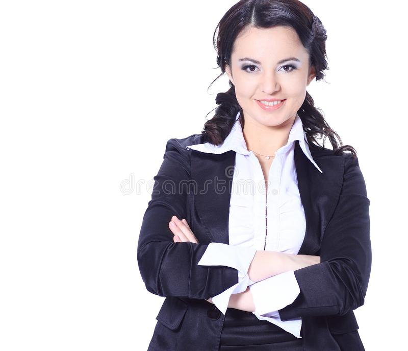 женщина портрета дела успешная белизна изолированная предпосылкой стоковые фотографии rf