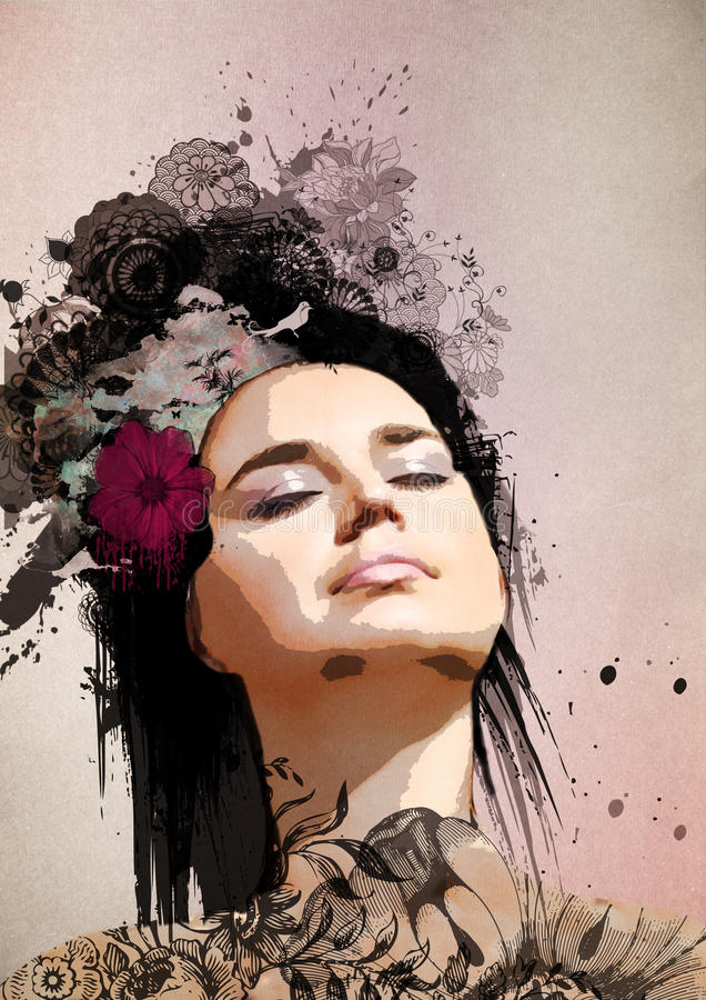 женщина портрета стильная сюрреалистическая бесплатная иллюстрация