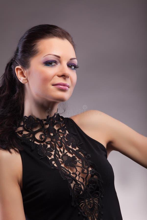 женщина портрета ткани красотки кружевная стоковые изображения