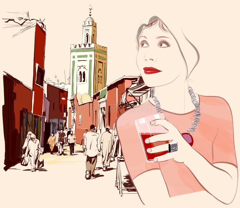 Женщина посещая Marrakesh в Марокко бесплатная иллюстрация