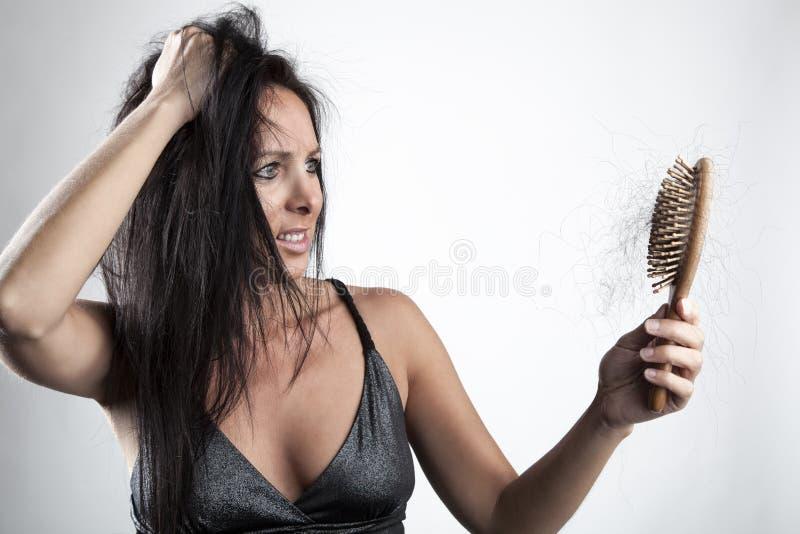 женщина потери волос стоковые фото