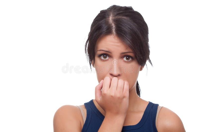 женщина потревожилась стоковое фото rf