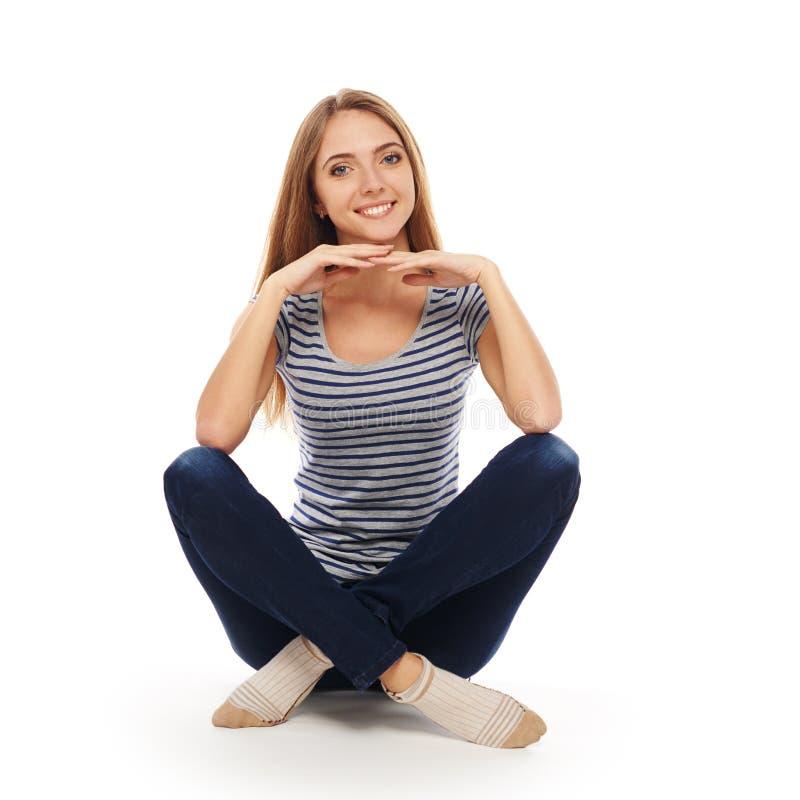 женщина пола сидя стоковое фото rf
