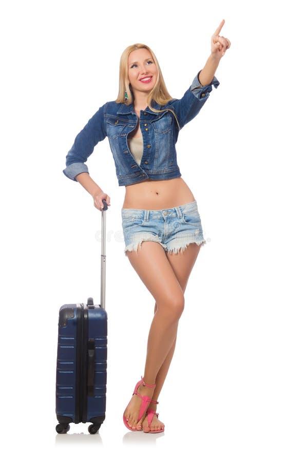 Женщина подготавливая для изолированного многодневного пути стоковое изображение