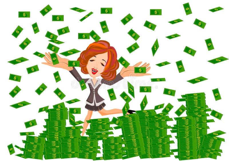 Женщина под дождем денег иллюстрация штока