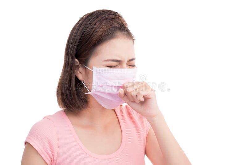 Женщина получает больной Азиатский лицевой щиток гермошлема носки молодой женщины медицинский стоковые фото