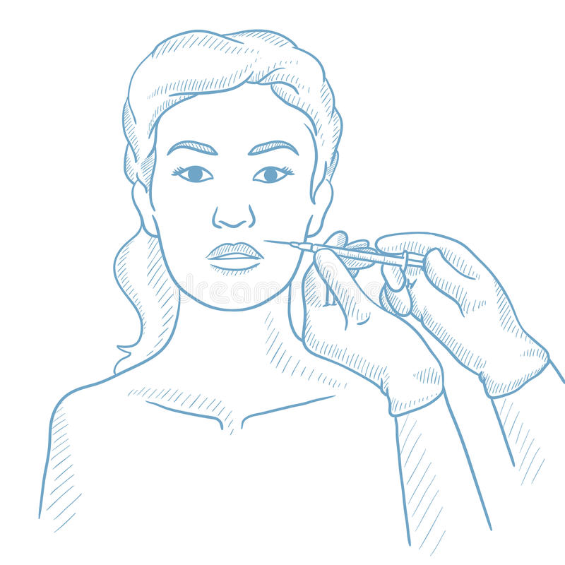 Женщина получая впрыски красоты лицевые в салоне иллюстрация вектора