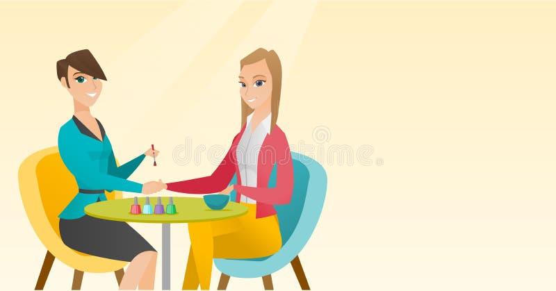 Женщина получая маникюр в салоне ногтя бесплатная иллюстрация