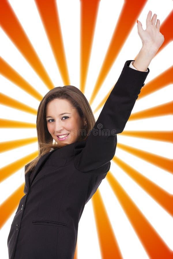 Женщина празднуя победу стоковые изображения