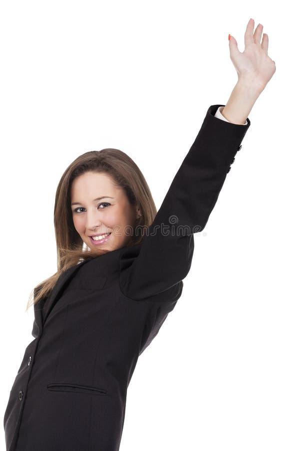 женщина празднуя победу стоковое изображение rf
