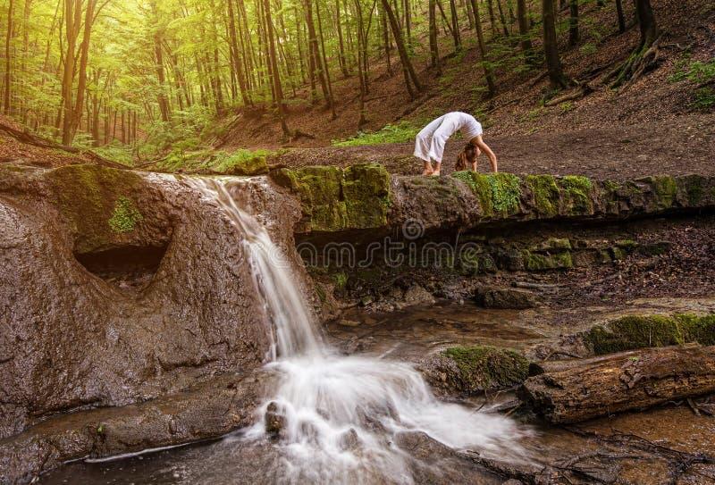 Женщина практикует йогу в природе, водопаде лес; Phanurasana Urdhva; Представление Dhanurasana стоковое изображение rf