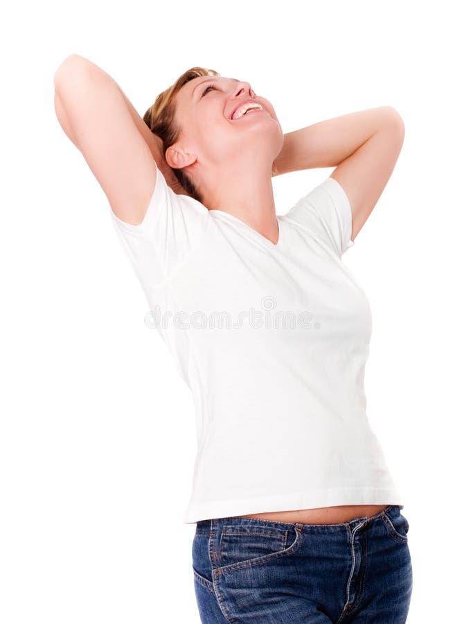 женщина предпосылки белокурая излишек сь белая стоковое изображение