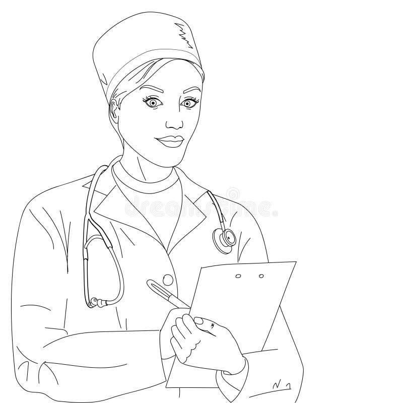 женщина предпосылки изолированная доктором белая Девушка в халате и медицинских одеждах Расцветка вектора бесплатная иллюстрация