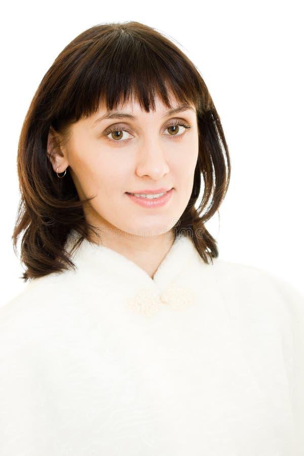 женщина привлекательной шерсти пальто блестящая стоковые изображения