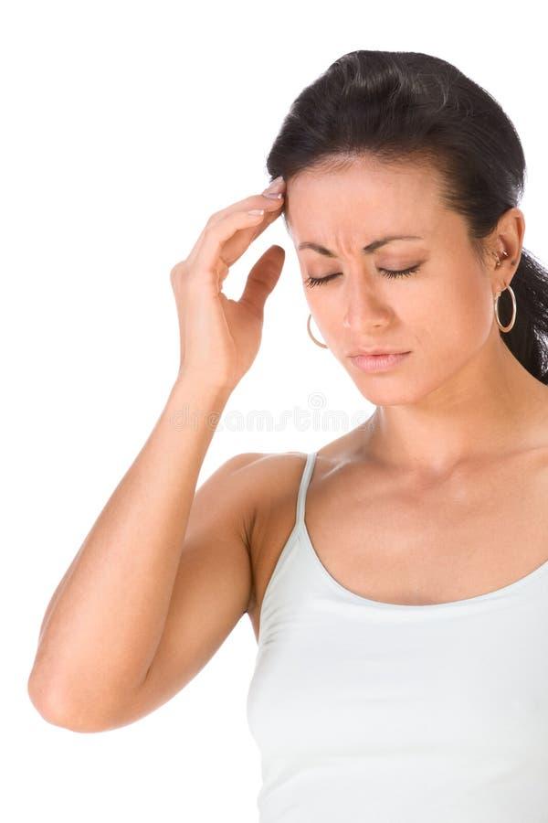 женщина привлекательной этнической головной боли терпя стоковая фотография