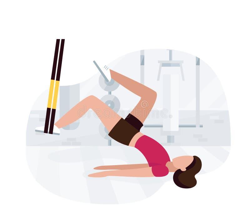 Женщина пригонки разрабатывая на trx делая тренировки glute bodyweight с тренировкой ноги батта повышения моста тазобедренной Про иллюстрация вектора