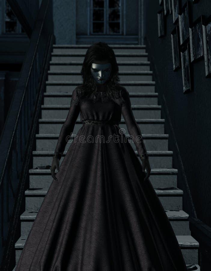 Женщина призрака в преследовать доме иллюстрация вектора