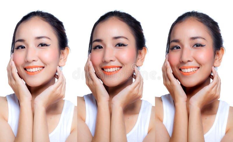 Женщина прикладывая белизну кожи концепцией красоты шага стоковые фотографии rf
