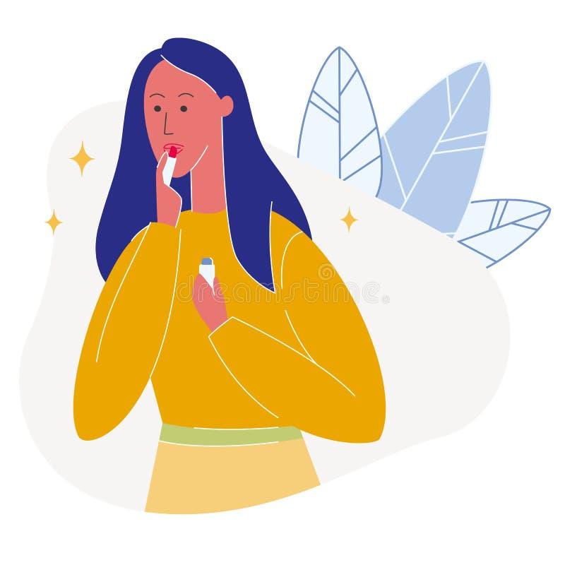 Женщина прикладывая иллюстрацию красной губной помады плоскую иллюстрация штока