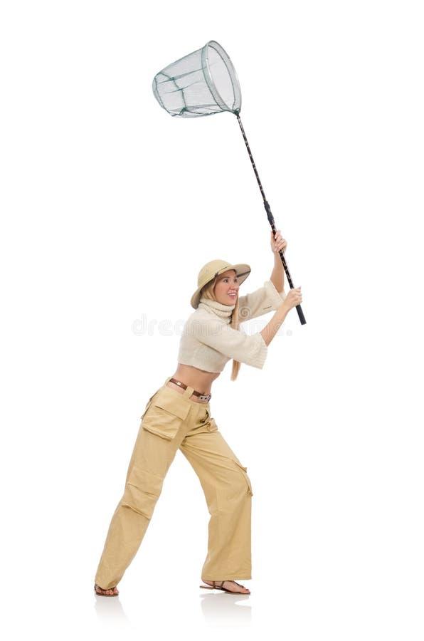 Женщина при заразительная сеть изолированная на белизне стоковые фотографии rf