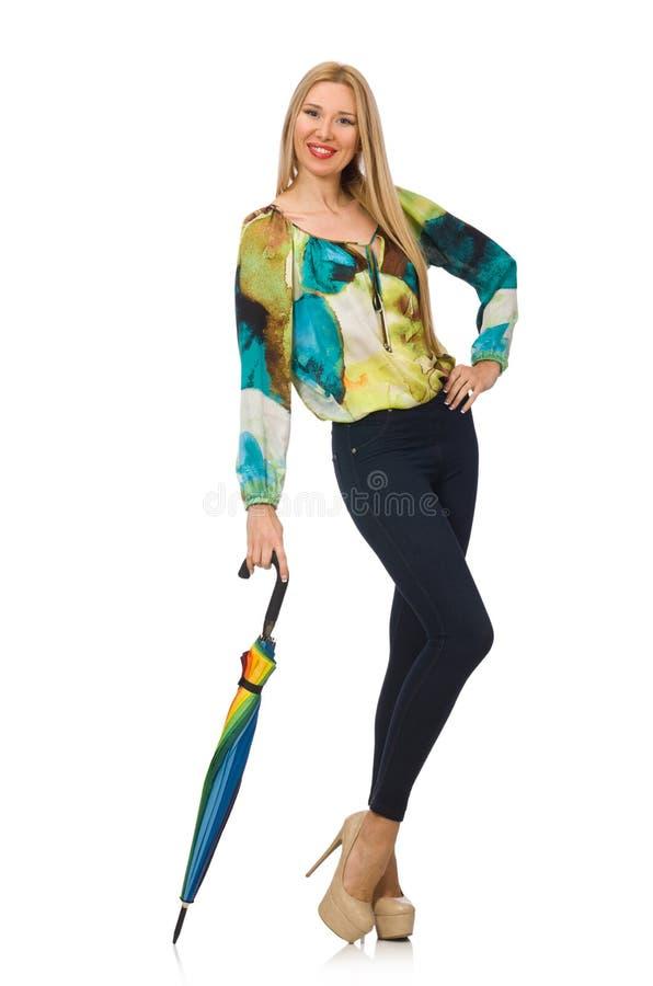 Женщина при изолированный зонтик стоковое фото rf
