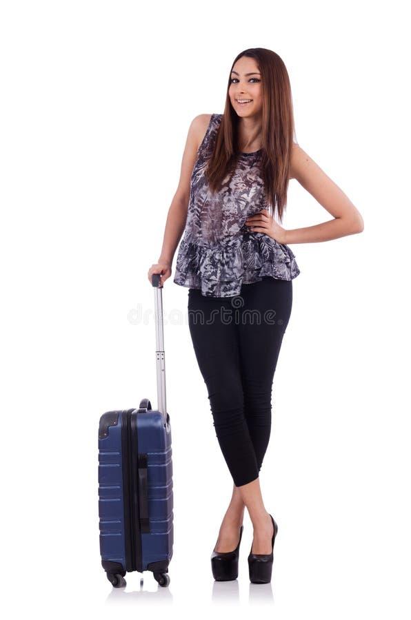 Женщина при изолированный чемодан в концепции перемещения стоковые фотографии rf