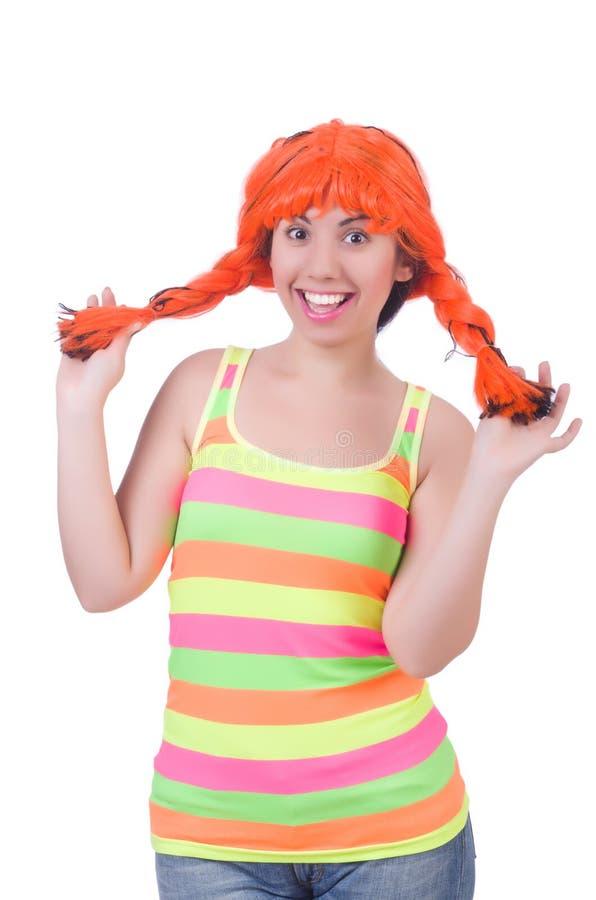Женщина при красочный изолированный парик стоковое изображение rf