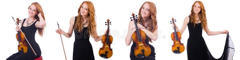 Женщина при скрипка изолированная на белизне стоковое изображение rf