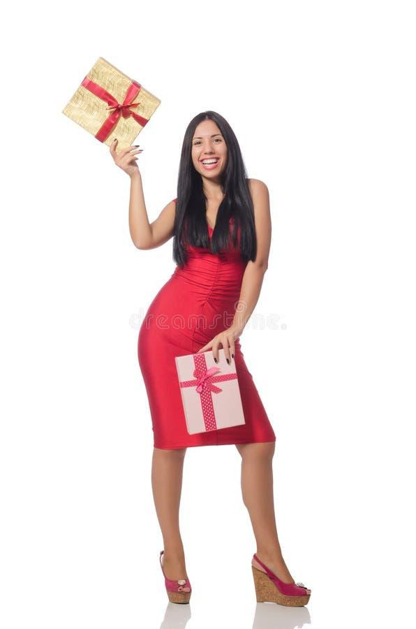 Женщина при giftboxes изолированные на белизне стоковое изображение