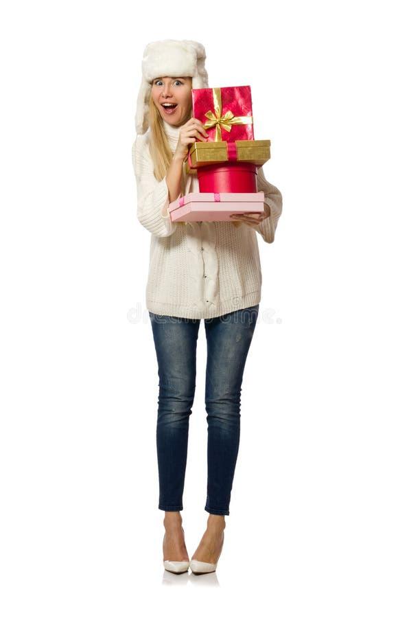 Женщина при giftboxes изолированные на белизне стоковое фото rf