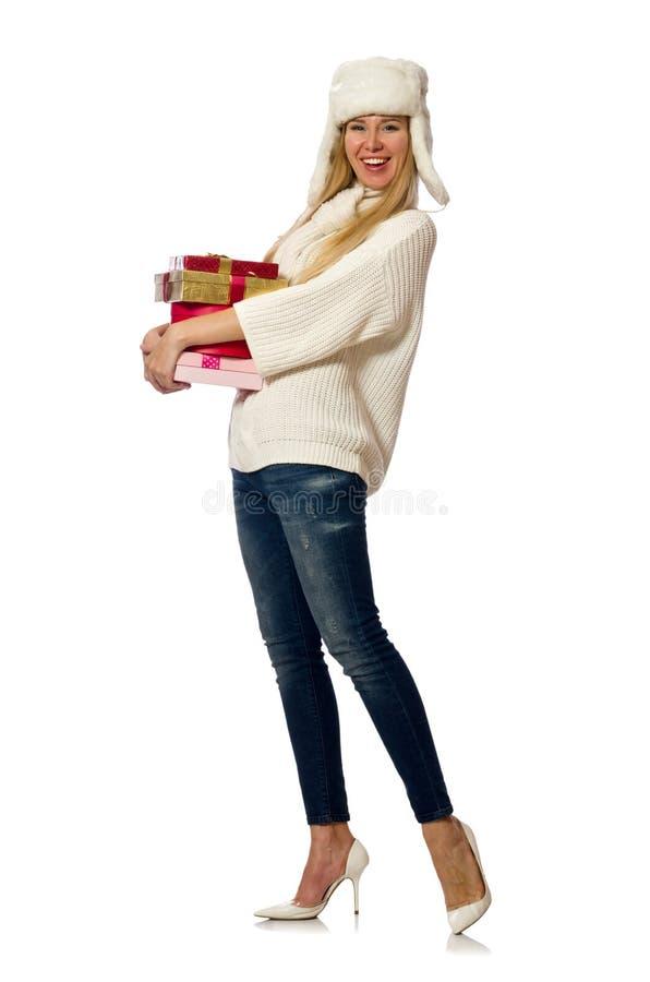 Женщина при giftboxes изолированные на белизне стоковые изображения