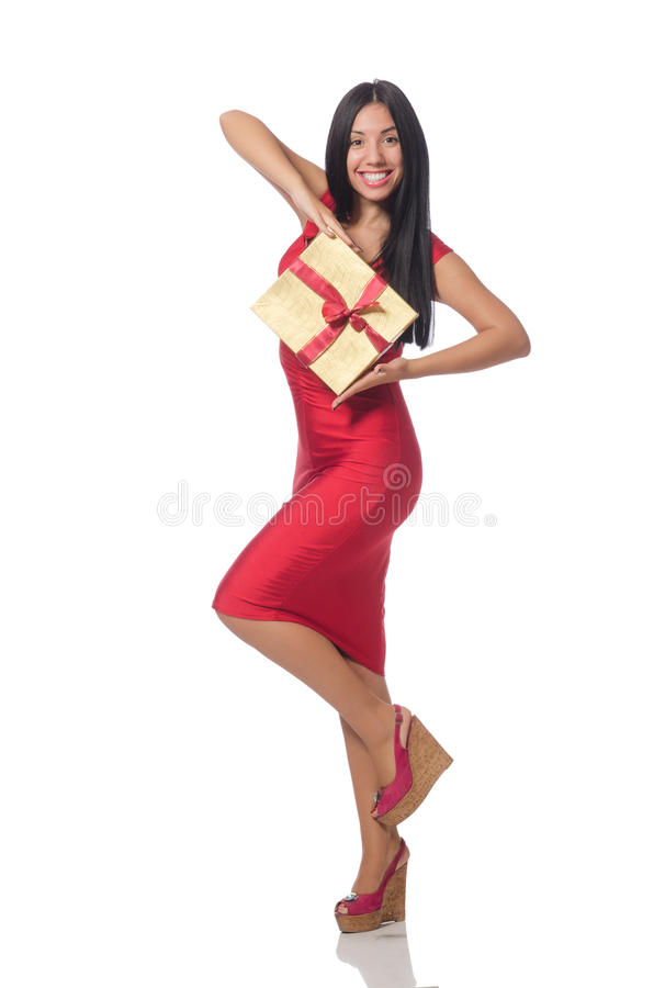 Женщина при giftboxes изолированные на белизне стоковое изображение rf