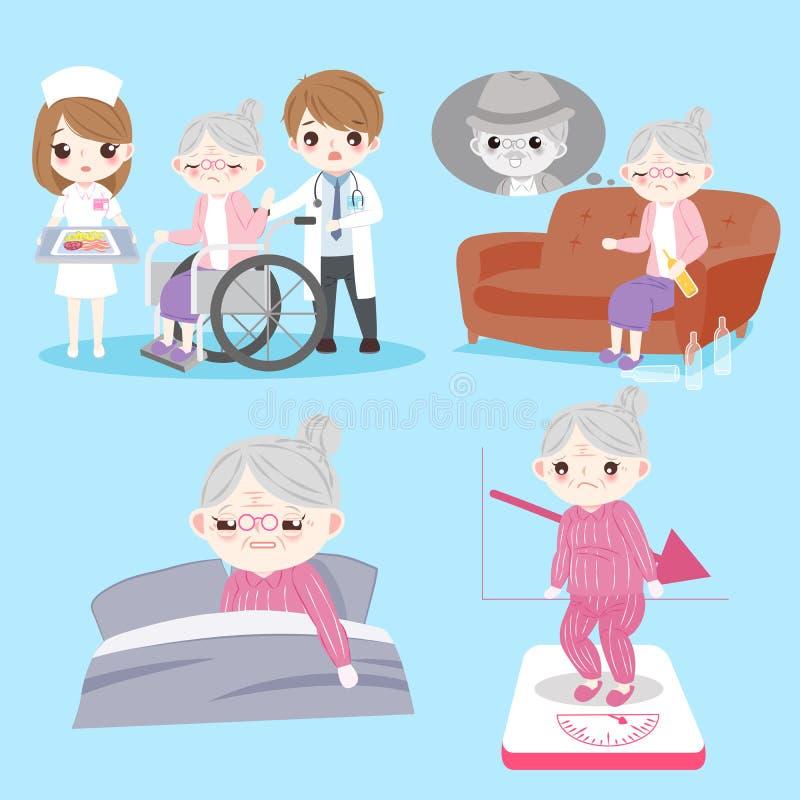 женщина проблемы здоровья старая бесплатная иллюстрация