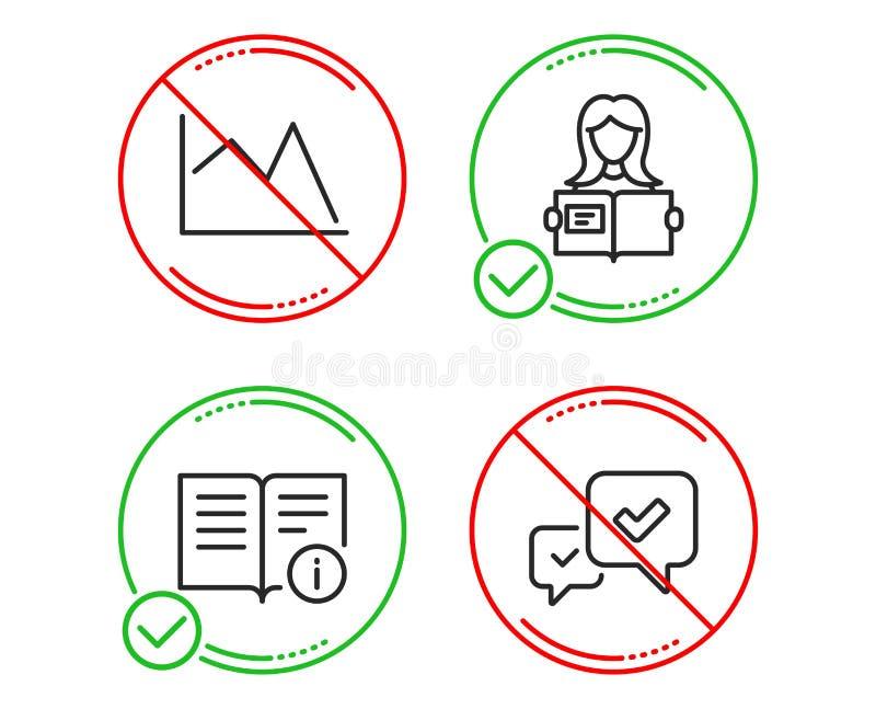 Женщина прочитала, техническая информация и линия набор значков диаграммы Одобрите знак r иллюстрация вектора
