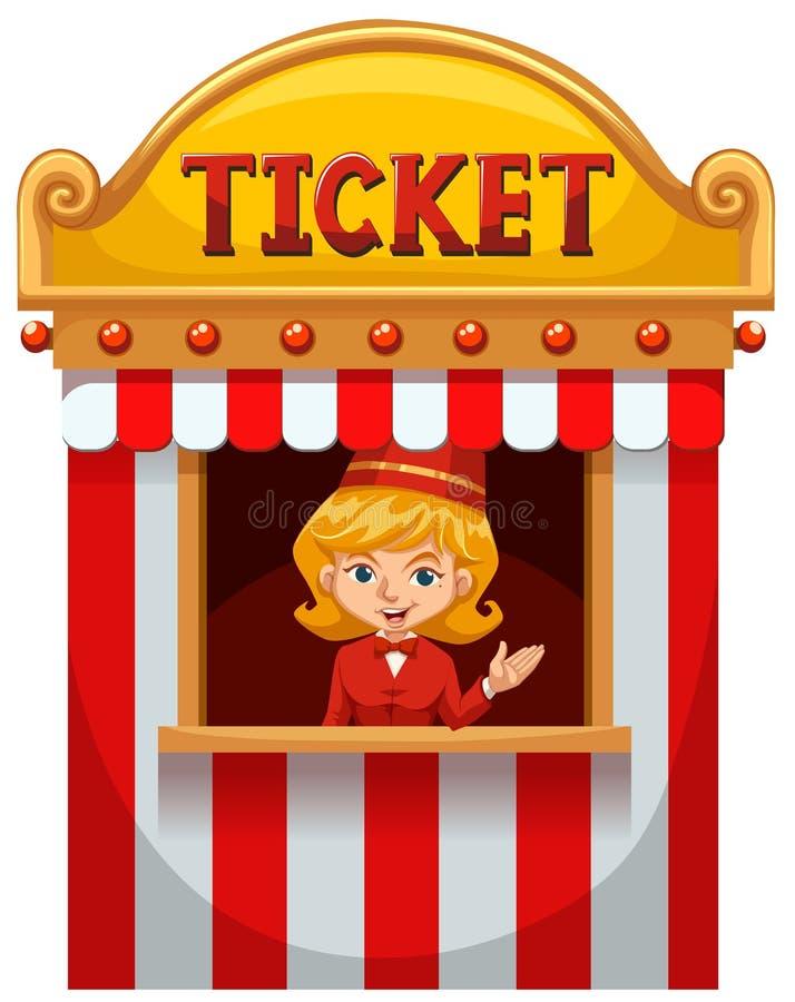 Женщина продавая билет на будочке иллюстрация вектора