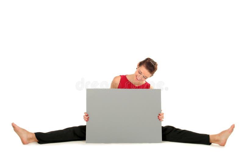 женщина пустой карточки стоковое фото rf