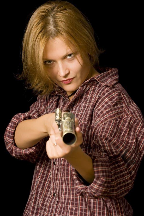 женщина пушки стоковые изображения rf