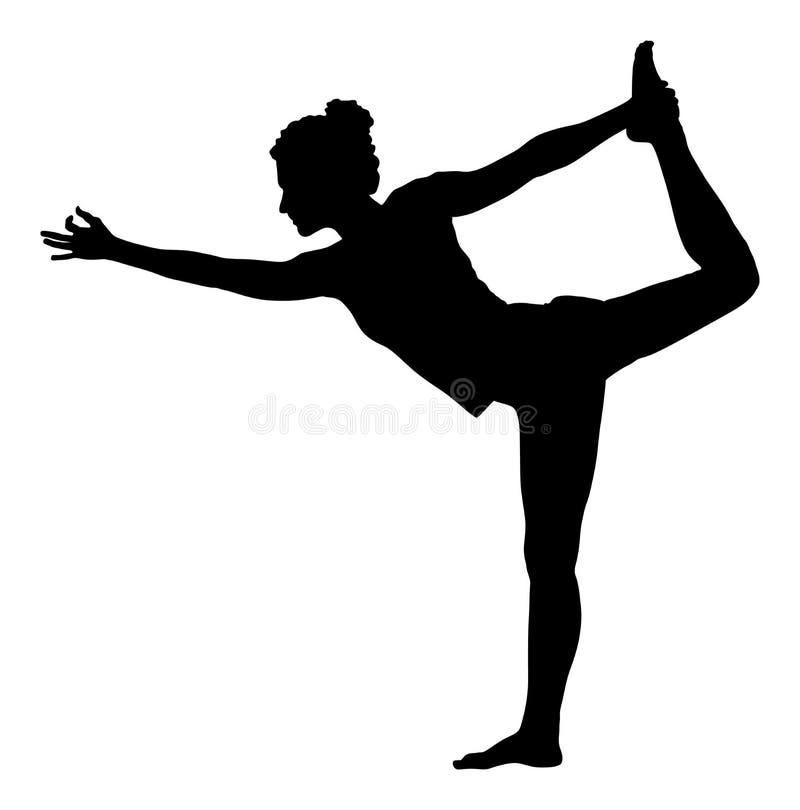 Женщина работает йогу, силуэт представления йоги иллюстрация штока