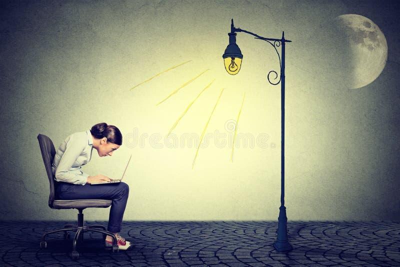 Женщина работая долгие часы используя компьтер-книжку иллюстрация штока