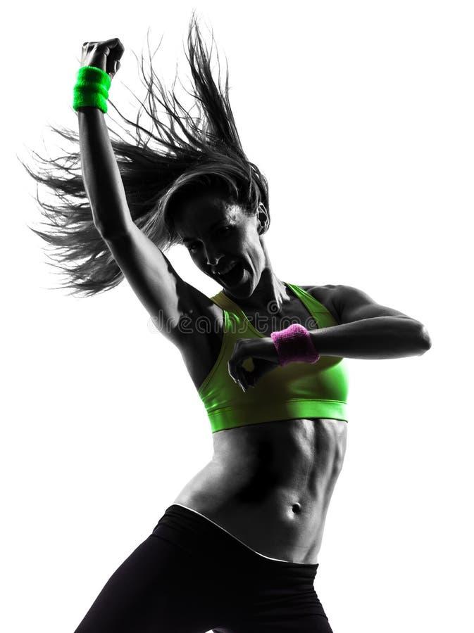 Женщина работая силуэт танцев zumba пригодности стоковые фотографии rf