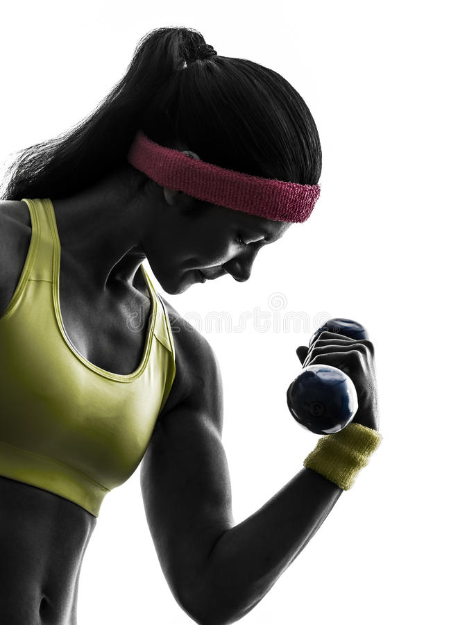 Женщина работая силуэт тренировки веса разминки пригодности стоковые изображения rf