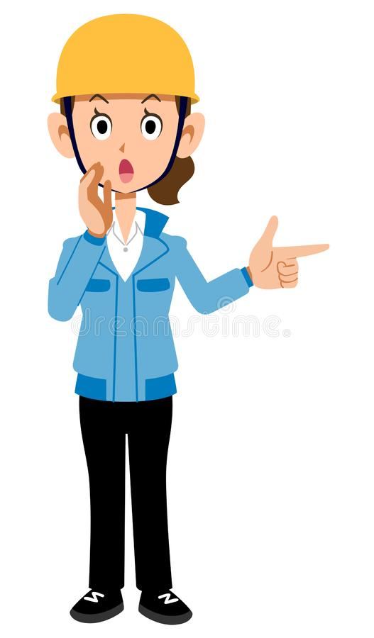 Женщина работника строительной площадки в голубом предупреждении рабочей одежды бесплатная иллюстрация