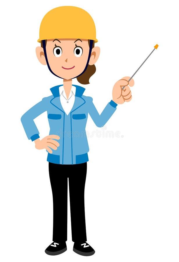 Женщина работника строительной площадки с рабочей одеждой ручки работы голубой иллюстрация вектора