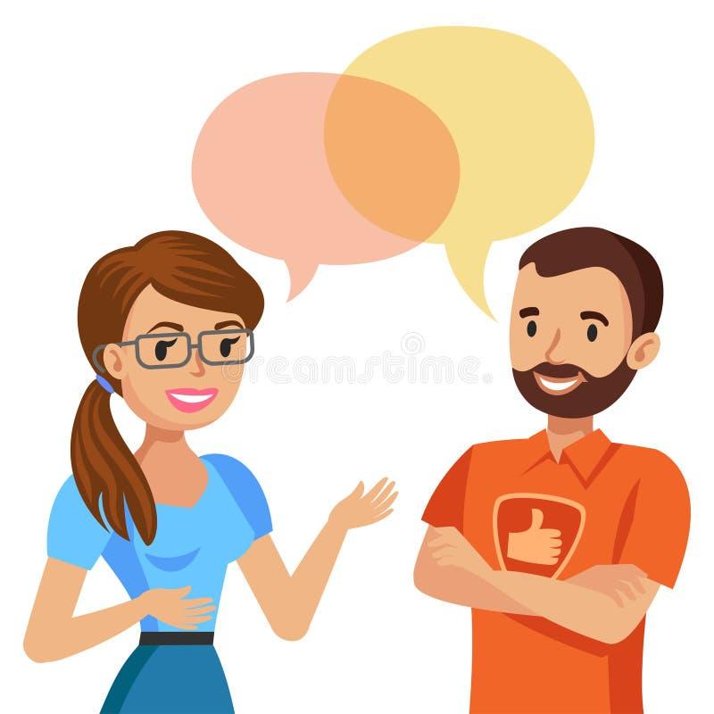 Женщина разговаривая с иллюстрацией вектора компьютерного специалиста бесплатная иллюстрация