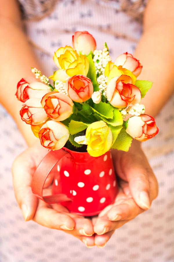 Женщина раздает вазу из пластиковых цветов стоковые фото