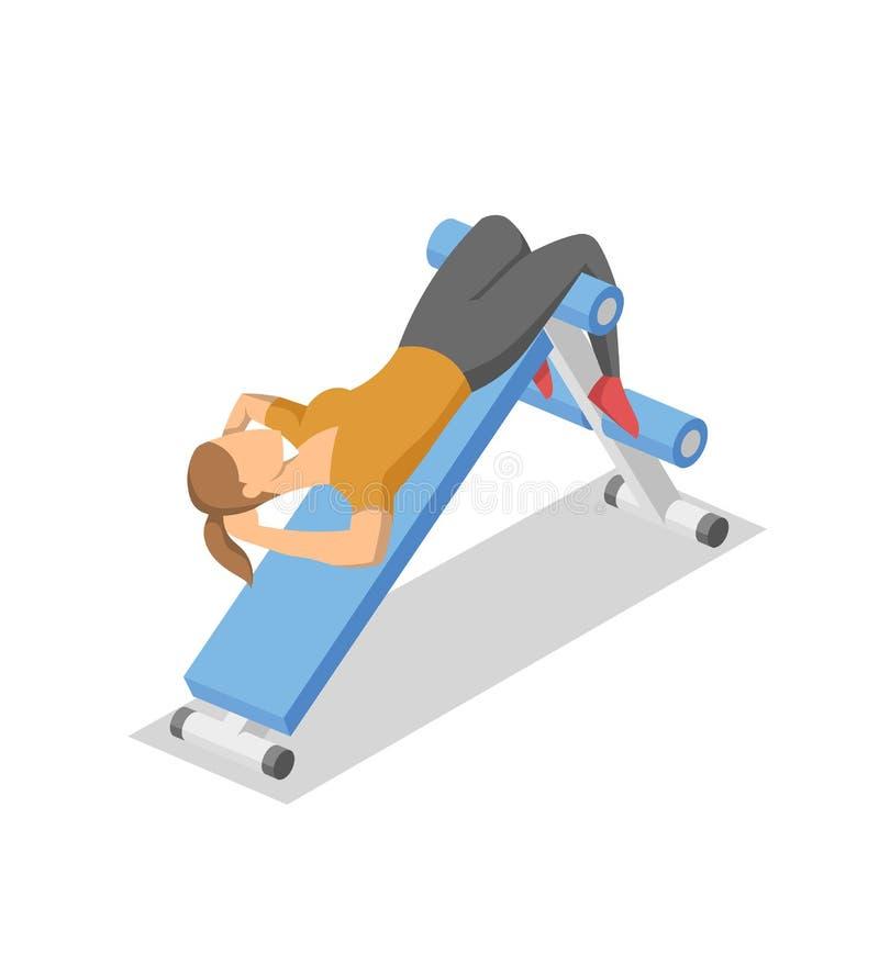 Женщина разрабатывая на подбрюшном стенде в спортзале Красочное равновеликое illlustration оборудования фитнеса в действии плоско иллюстрация штока