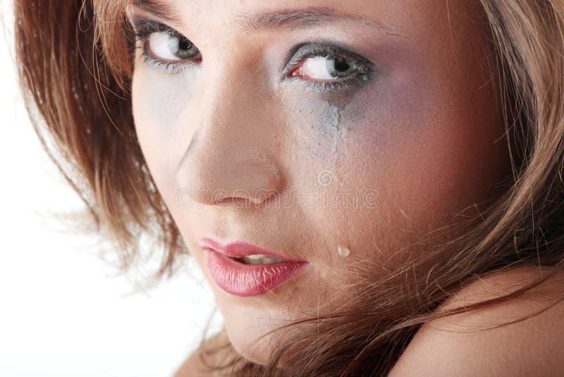 женщина расправы нижнего белья принципиальной схемы плача стоковое фото rf