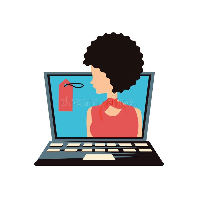 Женщина ретро в ноутбуке с коммерчески биркой бесплатная иллюстрация