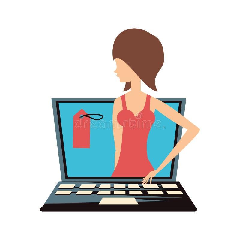Женщина ретро в ноутбуке с коммерчески биркой иллюстрация штока
